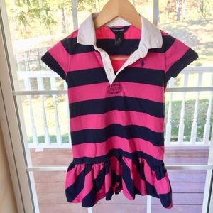 💜 Ralph Lauren Pink and Navy Striped Girls Dress